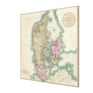 Vintage Map of Denmark (1801) Canvas Print