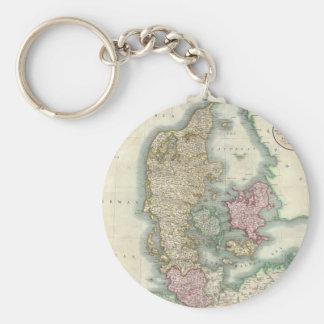 Vintage Map of Denmark (1801) Keychain