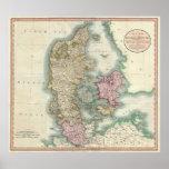 Vintage Map of Denmark (1801) Print