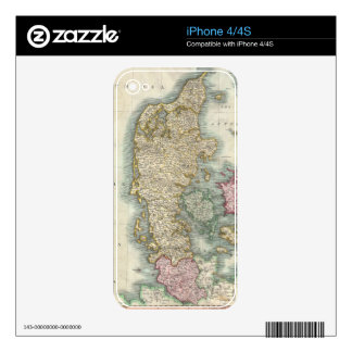 Vintage Map of Denmark (1801) Decal For iPhone 4