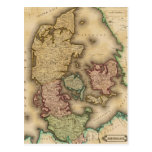 Vintage Map of Denmark (1831) Post Card
