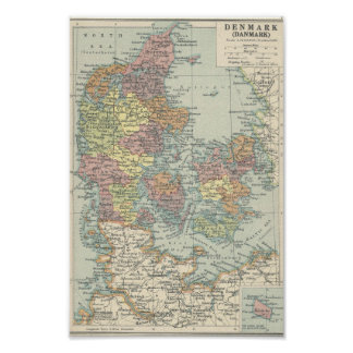 Vintage Map Of Denmark Poster