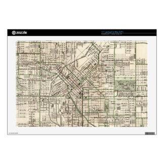 Vintage Map of Denver Colorado (1920) Decals For Laptops