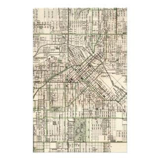 Vintage Map of Denver Colorado (1920) Stationery