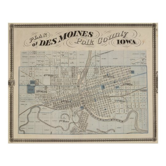 Vintage Map of Des Moines IA (1875) Poster | Zazzle.com