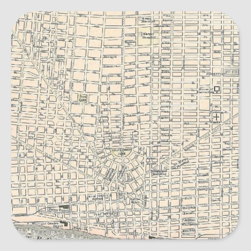 Vintage Map of Detroit (1895) Square Stickers