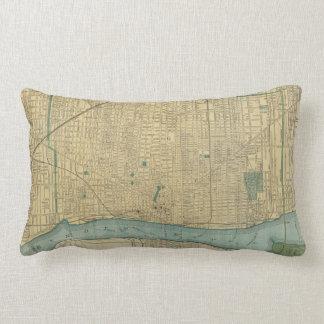 Vintage Map of Detroit Michigan (1895) Lumbar Pillow