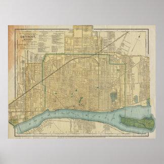 Vintage Map of Detroit Michigan (1895) Poster