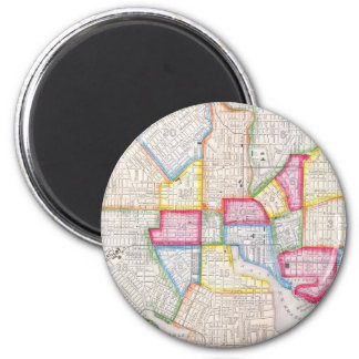 Vintage Map of Downtown Baltimore (1860) 2 Inch Round Magnet