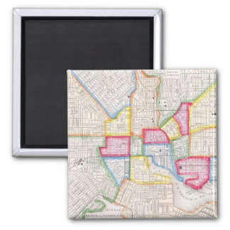Vintage Map of Downtown Baltimore (1860) 2 Inch Square Magnet