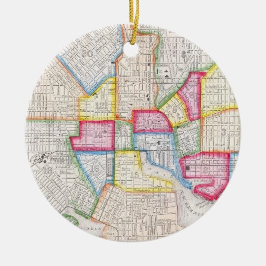 Vintage Map of Downtown Baltimore (1860) Ceramic Ornament