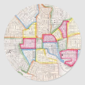Vintage Map of Downtown Baltimore (1860) Classic Round Sticker