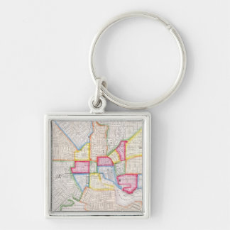 Vintage Map of Downtown Baltimore (1860) Silver-Colored Square Keychain