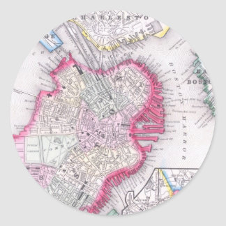 Vintage Map of Downtown Boston (1864) Classic Round Sticker