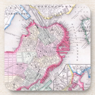 Vintage Map of Downtown Boston (1864) Drink Coaster