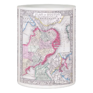 Vintage Map of Downtown Boston (1864) Flameless Candle
