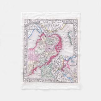 Vintage Map of Downtown Boston (1864) Fleece Blanket