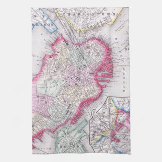 Vintage Map of Downtown Boston (1864) Hand Towel
