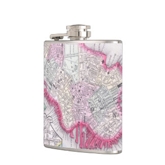 Vintage Map of Downtown Boston (1864) Hip Flask