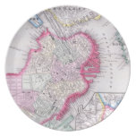 Vintage Map of Downtown Boston (1864) Party Plates
