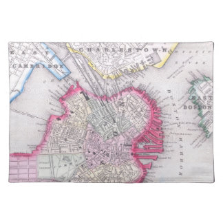 Vintage Map of Downtown Boston (1864) Place Mats