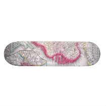 Vintage Map of Downtown Boston (1864) Skateboard