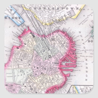 Vintage Map of Downtown Boston (1864) Square Sticker