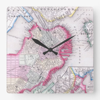 Vintage Map of Downtown Boston (1864) Square Wall Clock