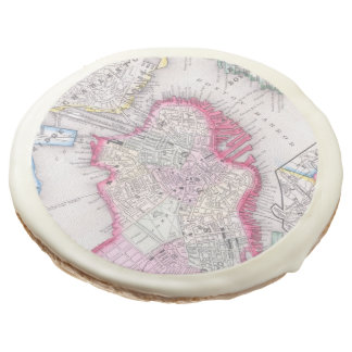 Vintage Map of Downtown Boston (1864) Sugar Cookie