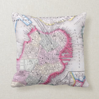 Vintage Map of Downtown Boston (1864) Throw Pillow