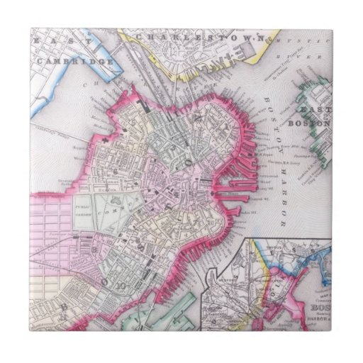 Vintage Map of Downtown Boston (1864) Tiles
