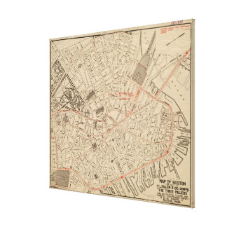 Vintage Map of Downtown Boston MA (1911) Canvas Print