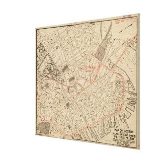 Vintage Map of Downtown Boston MA (1911) Canvas Print