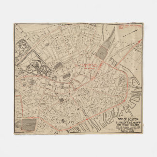 Vintage Map of Downtown Boston MA (1911) Fleece Blanket
