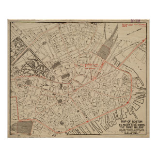 Vintage Map of Downtown Boston MA (1911) Poster