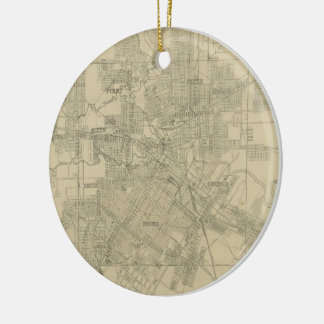 Vintage Map of Downtown Houston (1913) Ornament