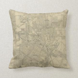 Vintage Map of Downtown Houston (1913) Throw Pillow