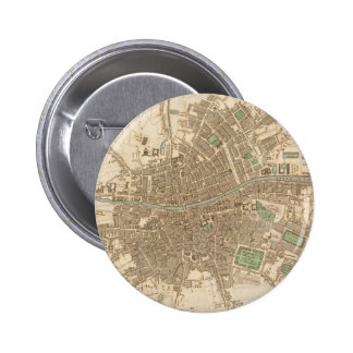 Vintage Map of Dublin (1836) Pinback Buttons