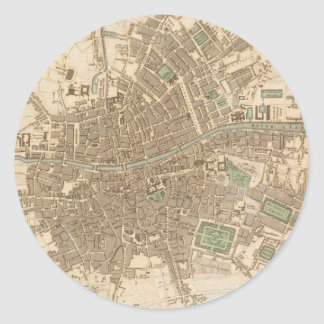 Vintage Map of Dublin (1836) Classic Round Sticker