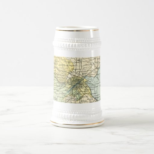 Vintage Map of Dublin and Surrounding Areas (1900) Beer Stein