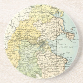 Vintage Map of Dublin and Surrounding Areas (1900) Beverage Coaster