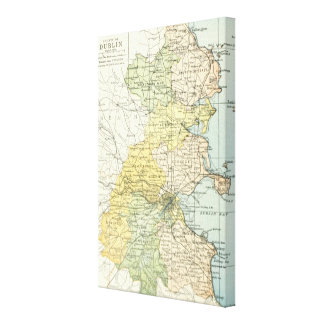 Vintage Map of Dublin and Surrounding Areas (1900) Canvas Print
