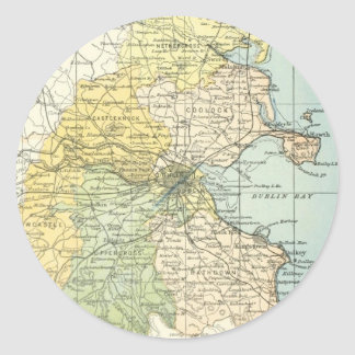 Vintage Map of Dublin and Surrounding Areas (1900) Classic Round Sticker
