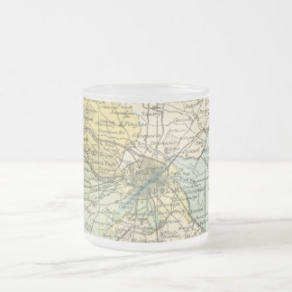 Vintage Map of Dublin and Surrounding Areas (1900) Frosted Glass Coffee Mug