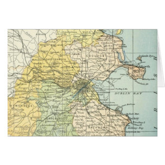 Vintage Map of Dublin and Surrounding Areas (1900) Greeting Card