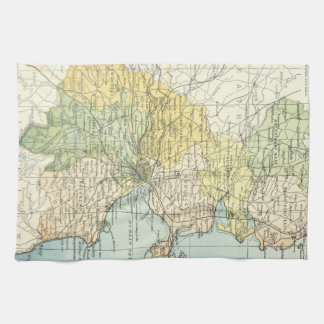 Vintage Map of Dublin and Surrounding Areas (1900) Hand Towel