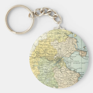 Vintage Map of Dublin and Surrounding Areas (1900) Keychain