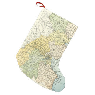 Vintage Map of Dublin and Surrounding Areas (1900) Small Christmas Stocking