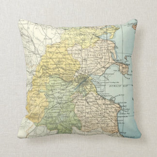 Vintage Map of Dublin and Surrounding Areas (1900) Pillow