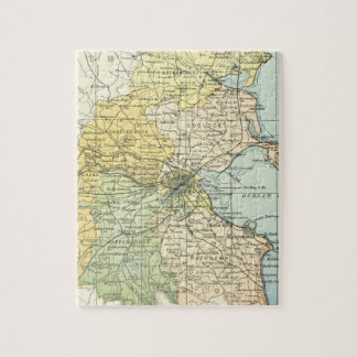 Vintage Map of Dublin and Surrounding Areas (1900) Jigsaw Puzzles